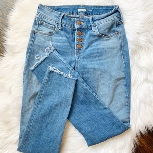 Old Navy Rockstar Denim 0 Button Front Raw Edge